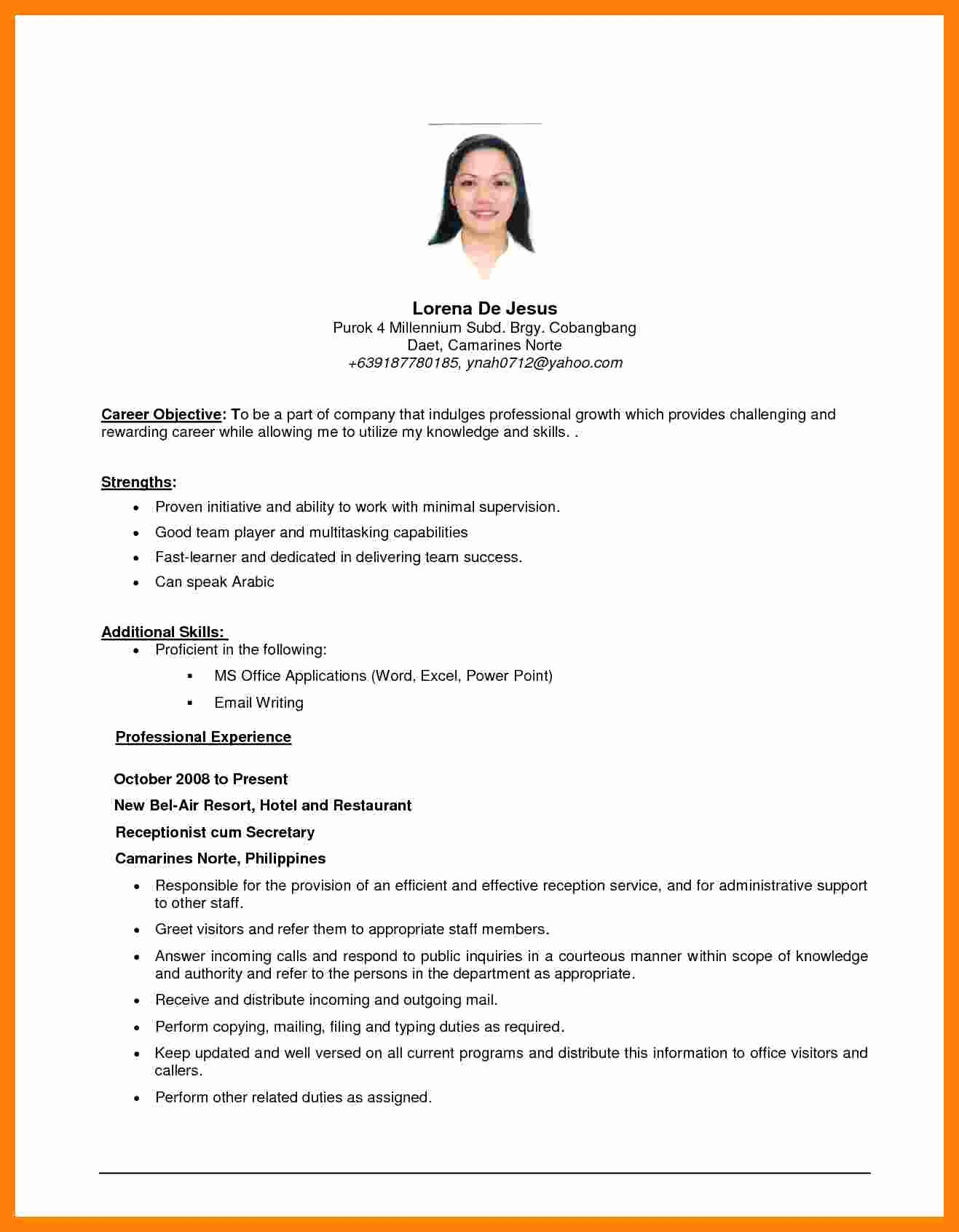 Simple Objective for Resume Lovely 5 Cv Objective Samples