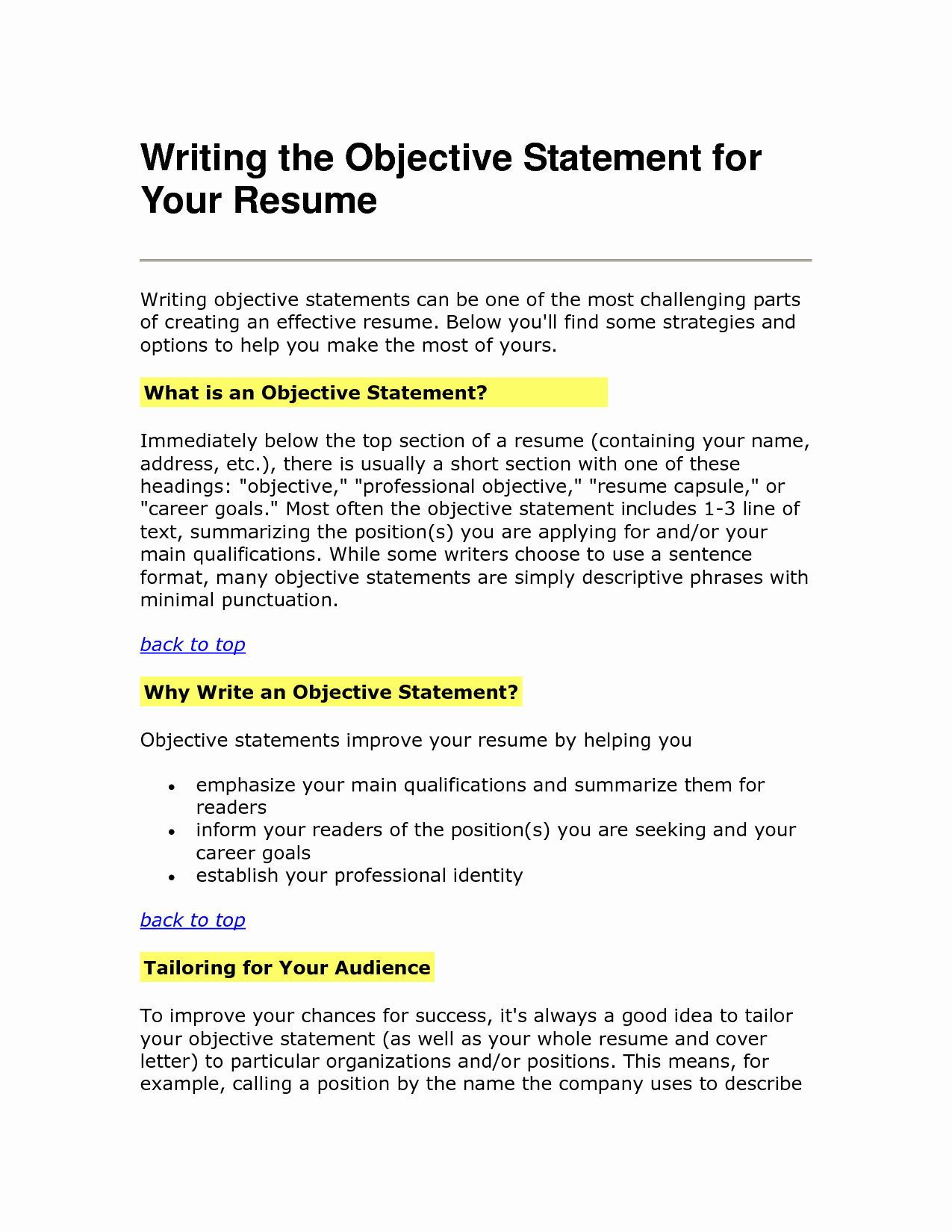Simple Objective for Resume Luxury Resume Objective Statement