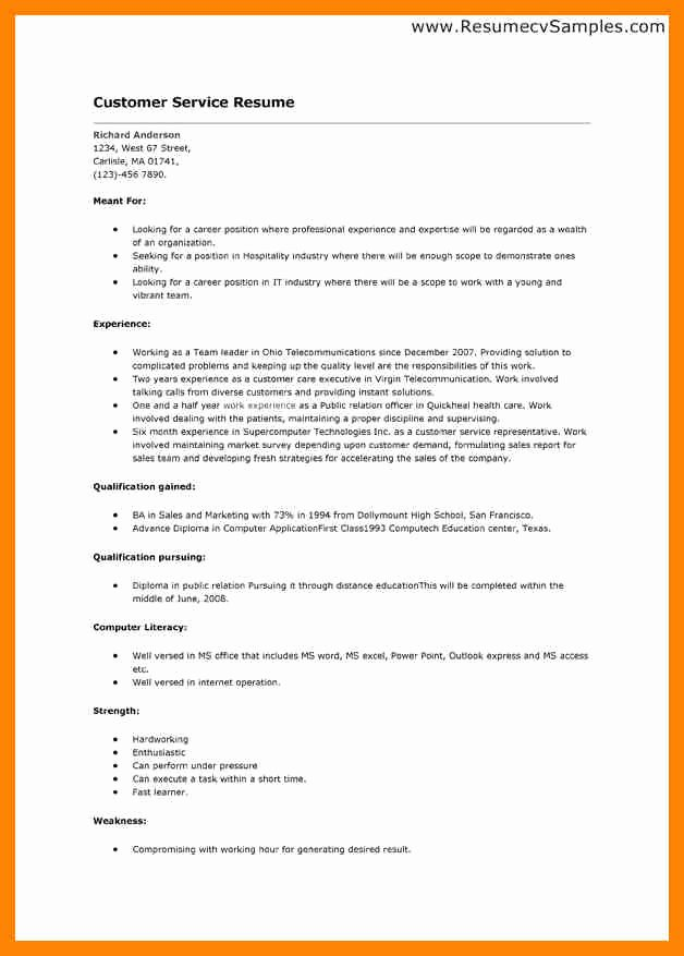 Simple Objective for Resume Unique 10 Simple Job Resumes Customer Service