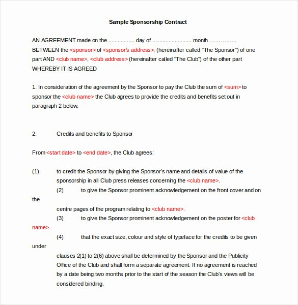 Simple Sponsorship Agreement Template Beautiful 16 Sponsorship Agreement Templates Free Sample Example