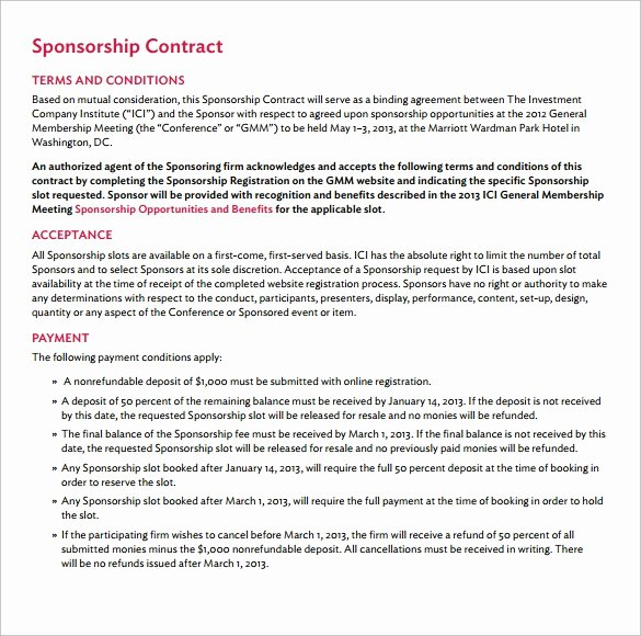 Simple Sponsorship Agreement Template Elegant Sponsorship Contract Template 15 Samples Examples format