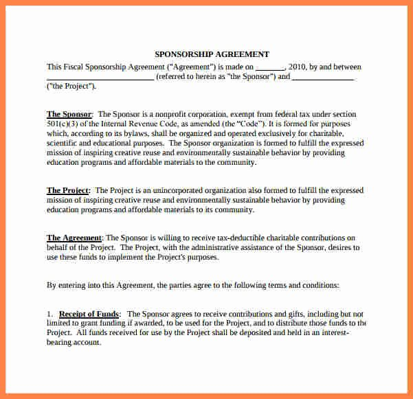 Simple Sponsorship Agreement Template Inspirational 9 Non Profit Sponsorship Agreement Template