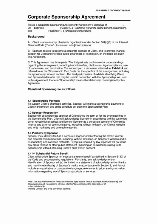Simple Sponsorship Agreement Template Lovely 10 Sponsorship Agreement Templates Free to In Pdf