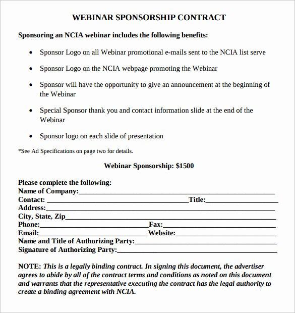 Simple Sponsorship Agreement Template Unique Sample Sponsorship Contract Template 14 Documents In