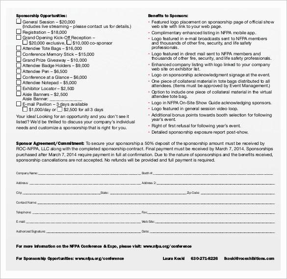 Simple Sponsorship Agreement Template Unique Sponsorship Contract Template 15 Samples Examples format
