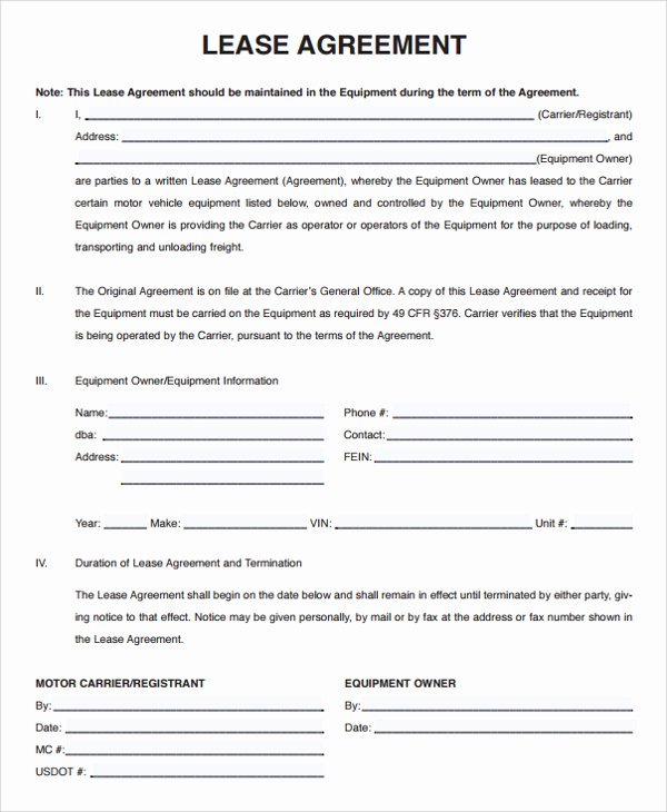 Simple Vehicle Lease Agreement Best Of Lease Agreement Template Seven – Every Last Template
