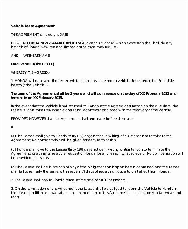 Simple Vehicle Lease Agreement Elegant 31 Lease Agreement Samples Word Google Docs Apple Pages
