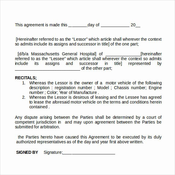 Simple Vehicle Lease Agreement Fresh Sample Car Rental Agreement 12 Documents In Pdf Word