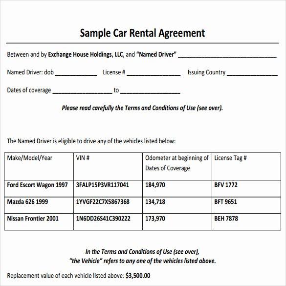 Simple Vehicle Lease Agreement Luxury Sample Car Rental Agreement 12 Documents In Pdf Word