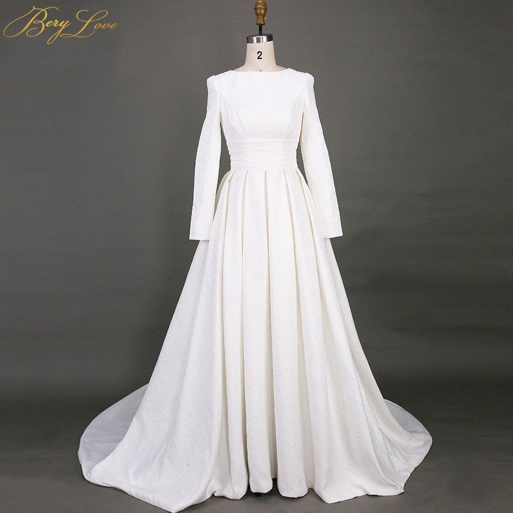 Simple Wedding Dress Patterns Fresh Berylove Simple Long Sleeves Wedding Dresses 2019 Pattern