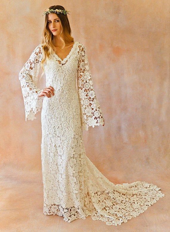 Simple Wedding Dress Patterns Lovely Boho Wedding Dress Bell Sleeve Simple Crochet Lace