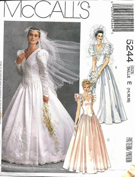 Simple Wedding Dress Patterns Unique Wedding Dress Pattern Mccall S 5244 Vintage 1990 S Bridal