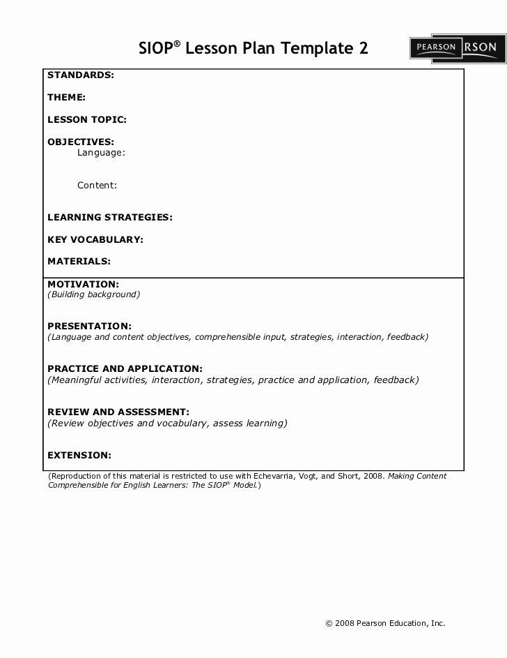 Siop Lesson Plan Templates Awesome Siop Lesson Plan Template2