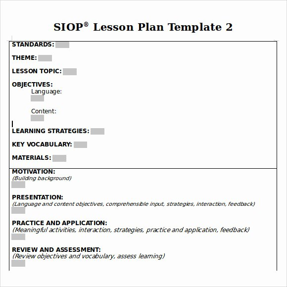 Siop Lesson Plan Templates Beautiful Sample Siop Lesson Plan 9 Documents In Pdf Word