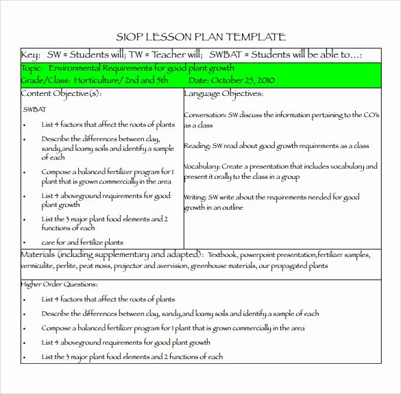Siop Lesson Plan Templates Beautiful Siop Lesson Plan Templates – 9 Examples In Pdf Word format