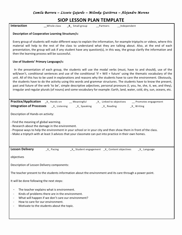 Siop Lesson Plan Templates Beautiful Siop Unit Lesson Plan Template Sei Model