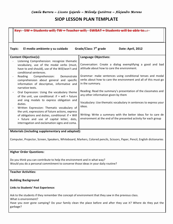 Siop Lesson Plan Templates Best Of Siop Unit Lesson Plan Template Sei Model
