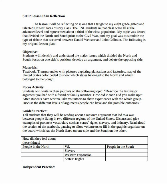 Siop Lesson Plan Templates Elegant Sample Siop Lesson Plan Templates – 10 Free Examples