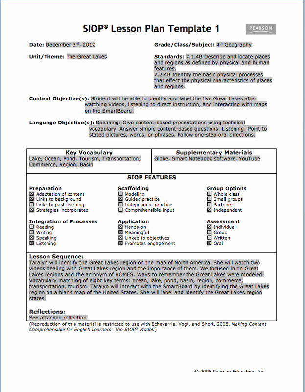 Siop Lesson Plan Templates Inspirational Siop Lesson Plan