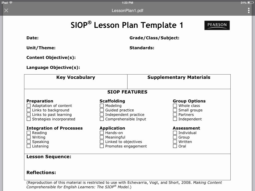 Siop Lesson Plan Templates New Siop Lesson Plan Template 1