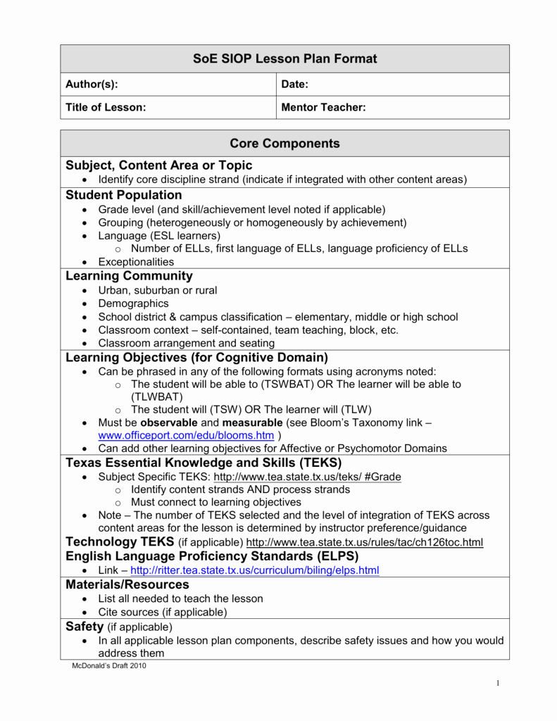 Siop Model Lesson Plan Best Of Siop Lesson Plan Guidelines