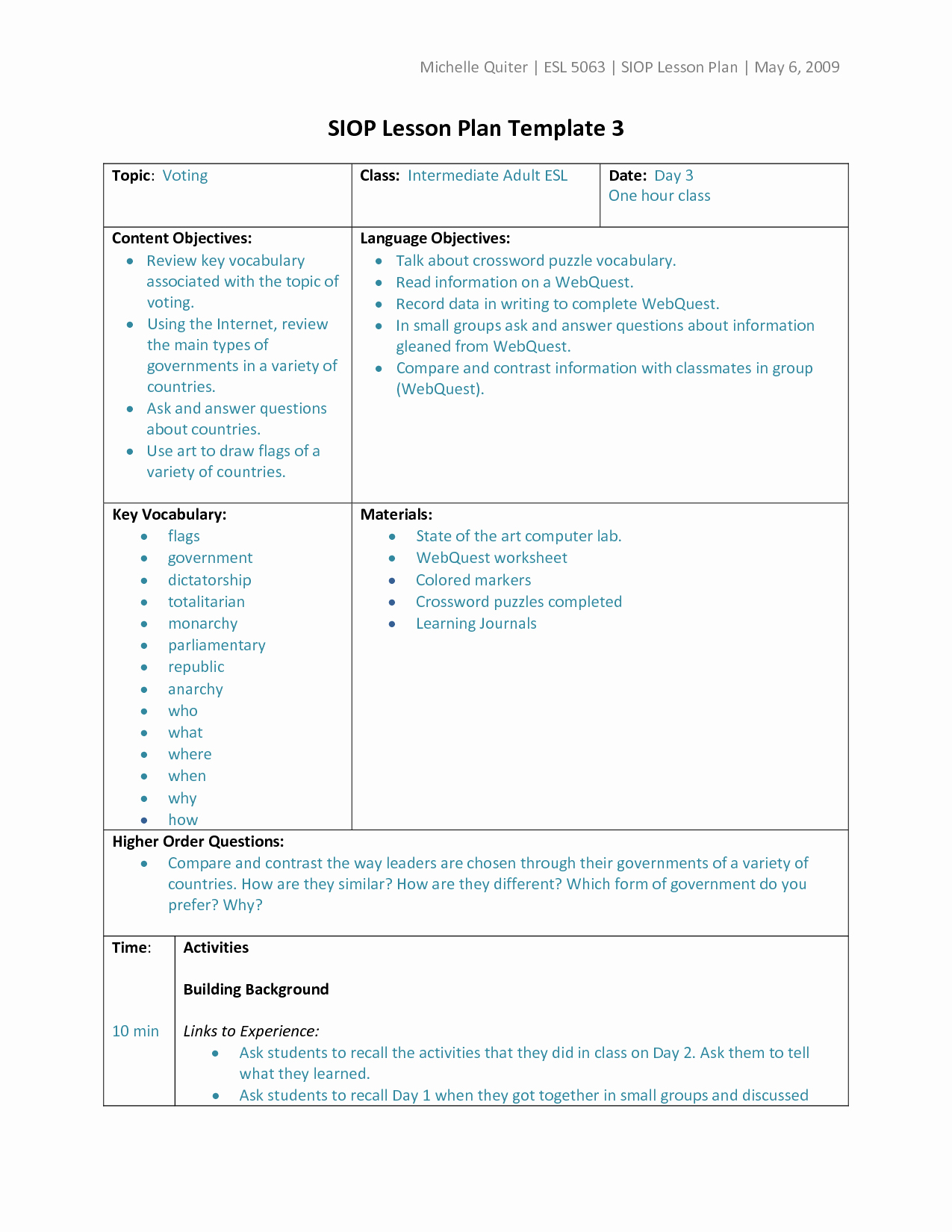 Siop Model Lesson Plan Fresh Types Of Lesson Plan Templates