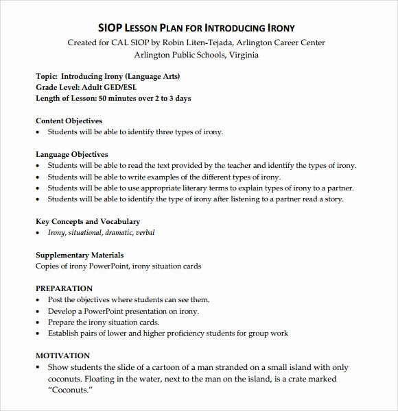 Siop Model Lesson Plan Inspirational Sample Siop Lesson Plan 9 Documents In Pdf Word