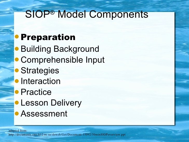 Siop Model Lesson Plan Inspirational Siop Presentation Schnee