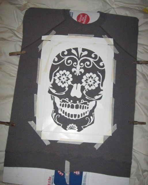Skull Stencil for Spray Paint Beautiful Skull Sweatshirt · How to Make A Sweater Jumper · Spray