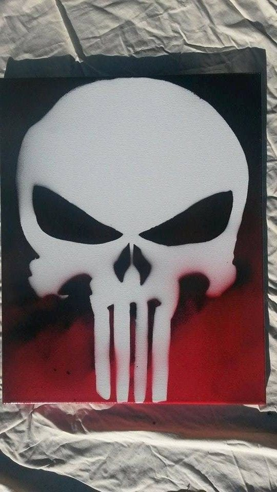 Skull Stencils for Spray Painting Elegant the Punisher Spray Paint Art On 16x20 Canvas Made with