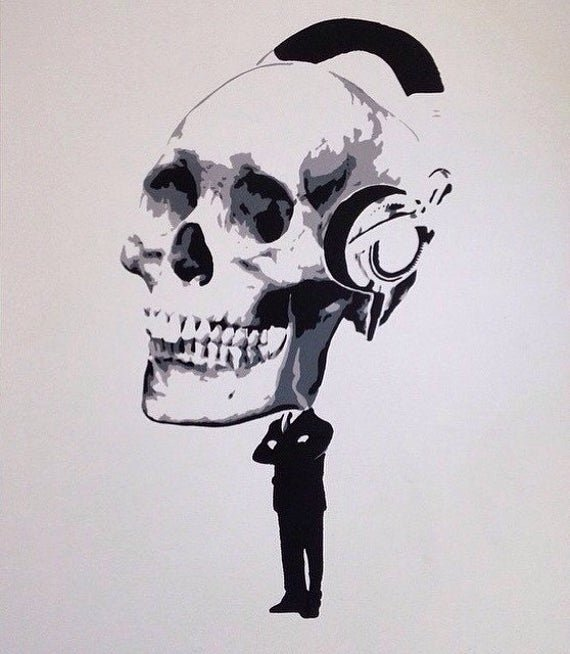 Skull Stencils for Spray Painting Luxury Brain Dead From 9 to 5 Spray Paint Stencil Art Skull 30cm X