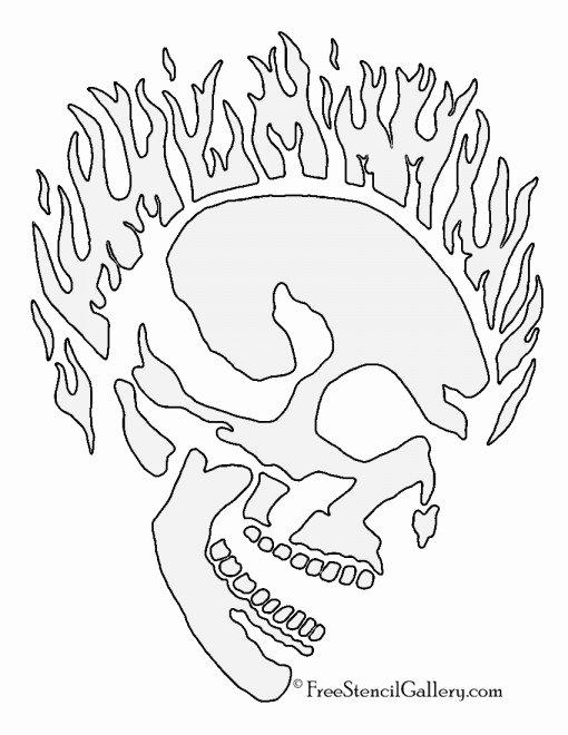 Skull Stencils Free Printable Beautiful Flaming Skull Stencil