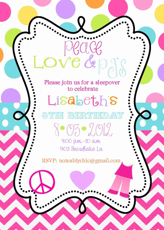Slumber Party Invitation Template Beautiful 12 Peace Love Pjs Pajama Party Sleepover Slumber Party