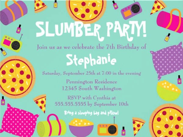 Slumber Party Invitation Template Beautiful Girl Slumber Party Invitation Other Kawaly24