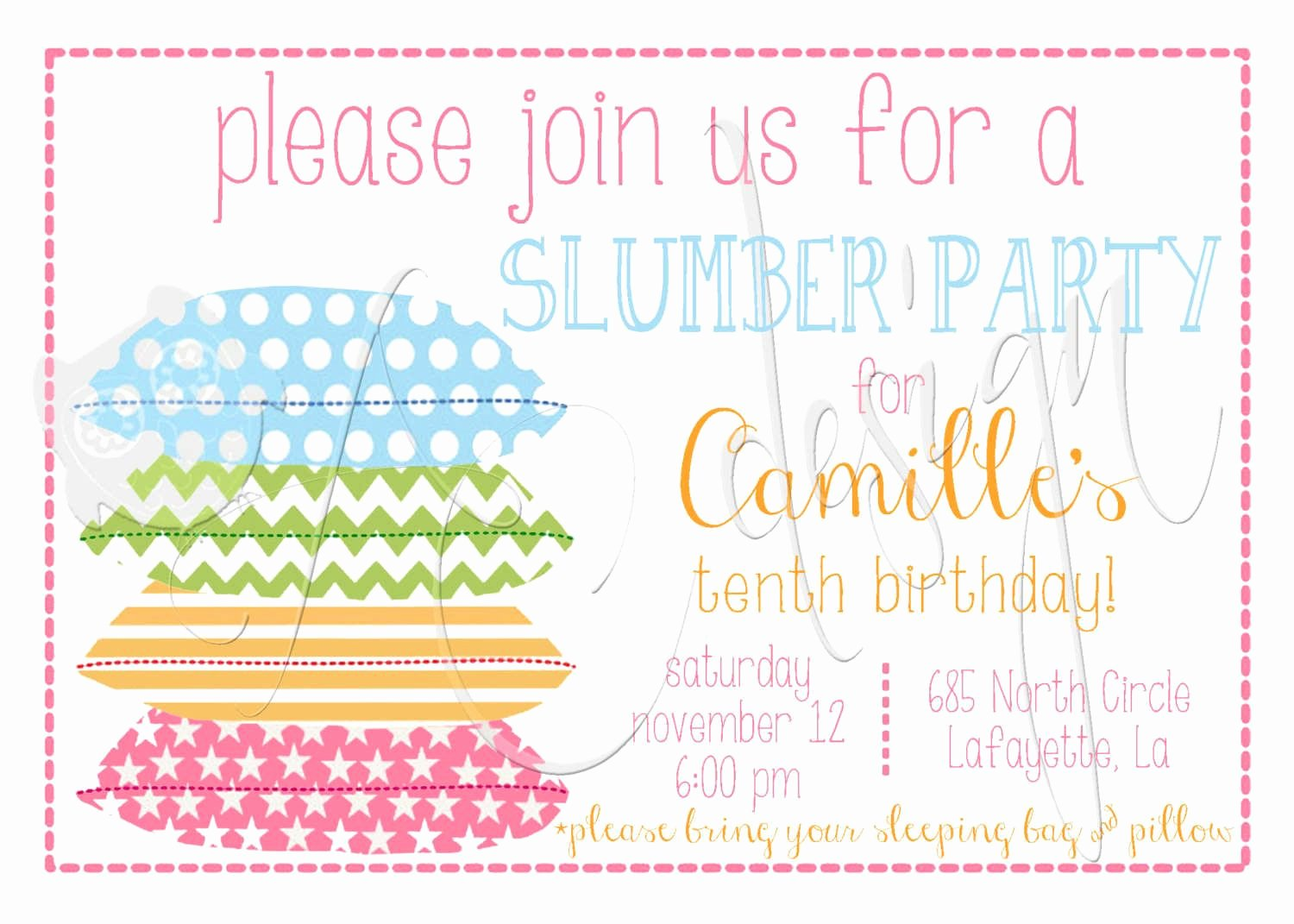 Slumber Party Invitation Template Fresh Free Printable Slumber Party Invitations Girls
