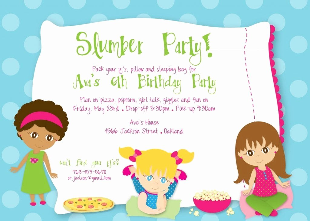 Slumber Party Invitation Template Lovely Birthday Party Sleepover Invitations