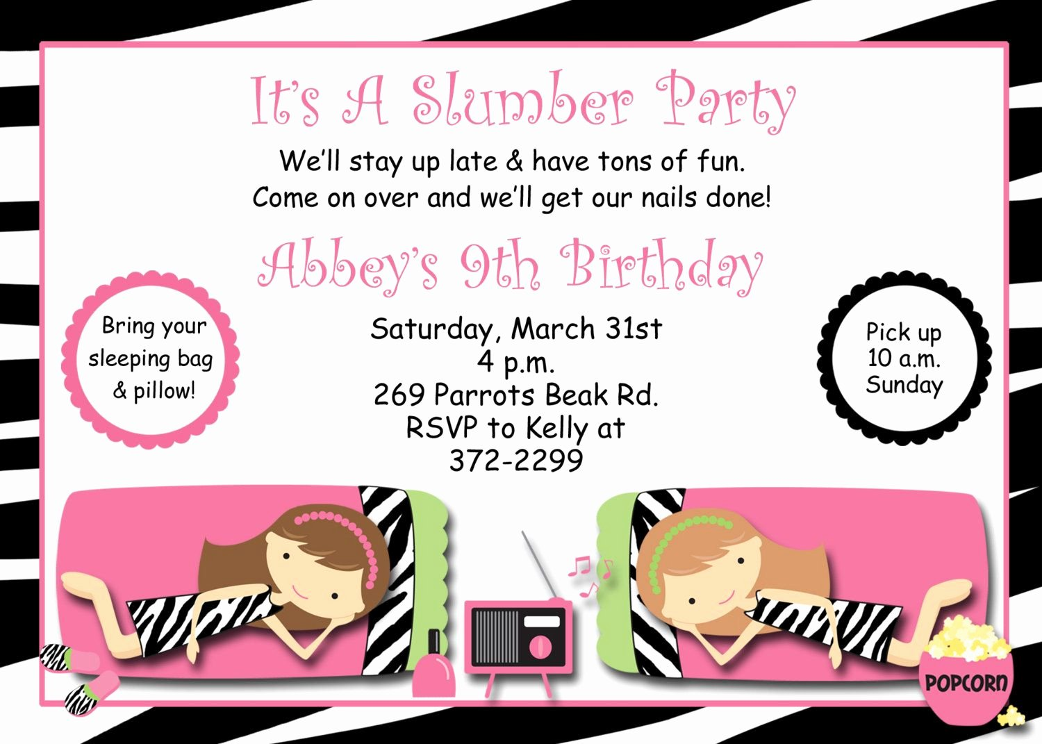 Slumber Party Invitation Template Lovely Free Printable Slumber Party Invitations Templates