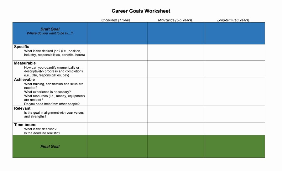 Smart Career Goals Examples Beautiful Download Career Path Template Excel