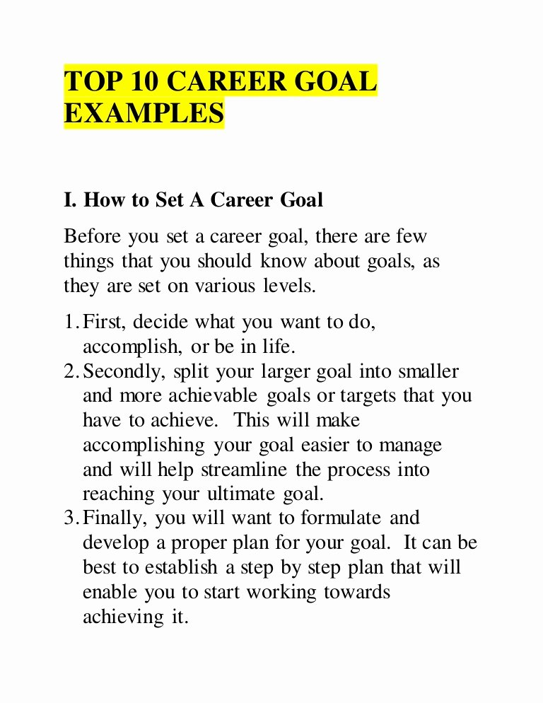 Smart Career Goals Examples New top 10 Career Goal Examples