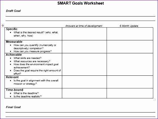 Smart Goal Template Luxury 10 Smart Goals Template Excel Exceltemplates