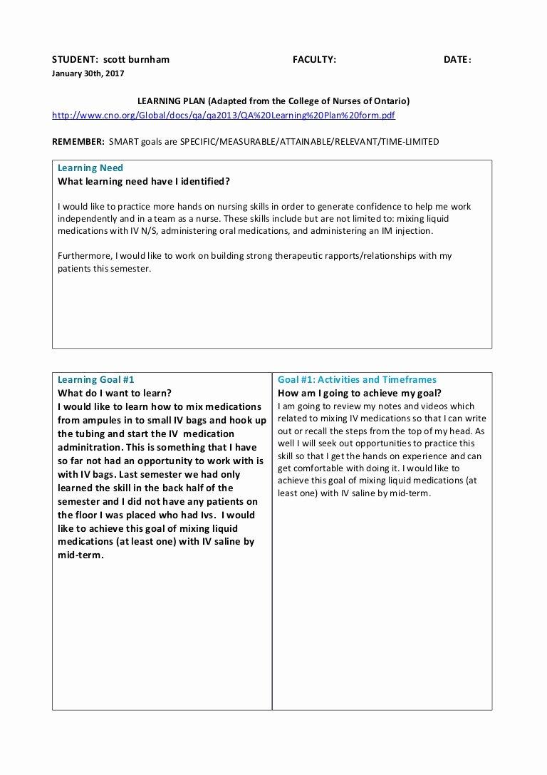 Smart Goals for Nurses Elegant Learning Plan with 5 Goals