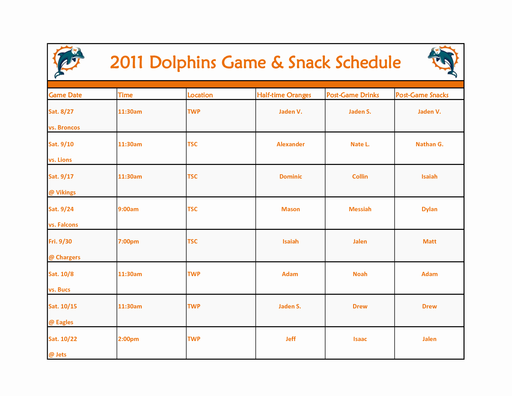 Snack Schedule Template for Sports Awesome Broncos Schedule