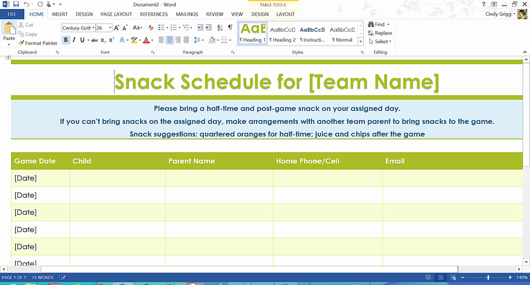 Snack Schedule Template for Sports Awesome organization Boost Templates and Printables for Families