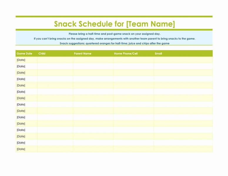 Snack Schedule Template for Sports Beautiful Inspirational Team Snack Schedule Template