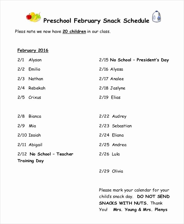 Snack Schedule Template for Sports Beautiful Snack Schedule Template 7 Free Word Excel Pdf