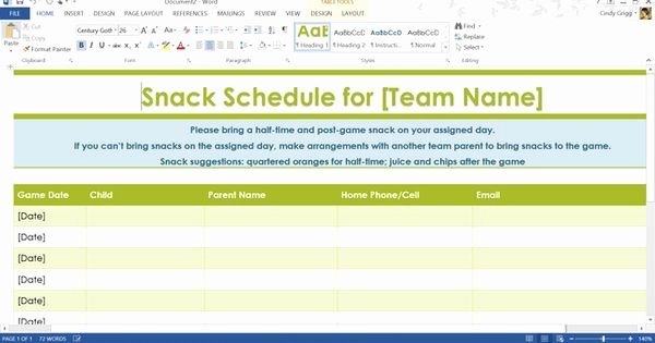 Snack Schedule Template for Sports Inspirational Ms Fice Templates and Printables Can Help organize Your