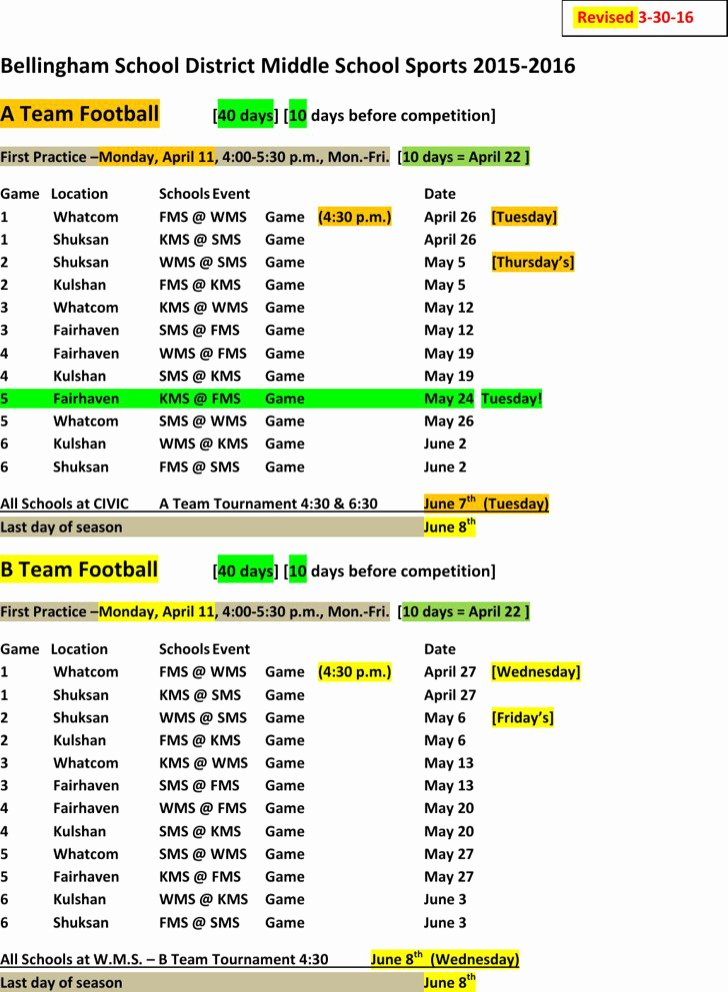 Snack Schedule Template for Sports Lovely 8 Sports Schedule Templates Free Download