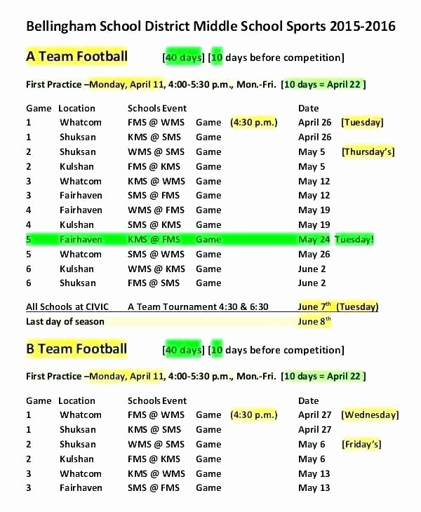 Snack Schedule Template for Sports Luxury Practice Schedule Template for Football