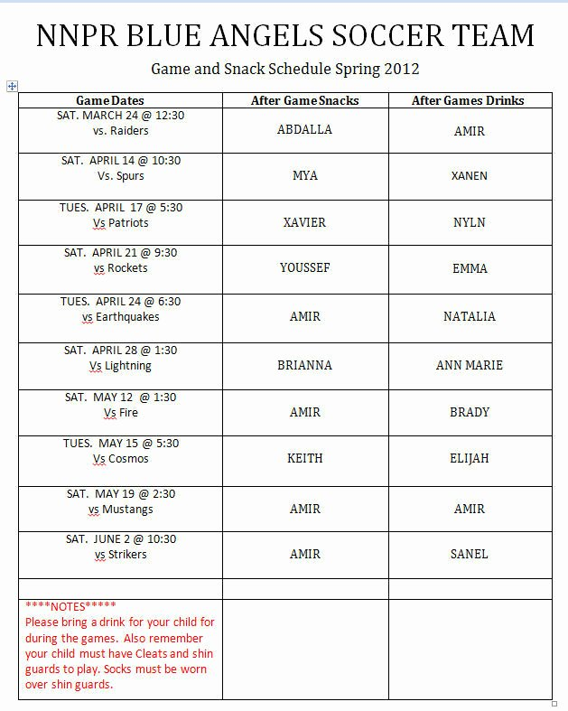 Snack Schedule Template for Sports New 26 Of Youth Sports Snack Schedule Template