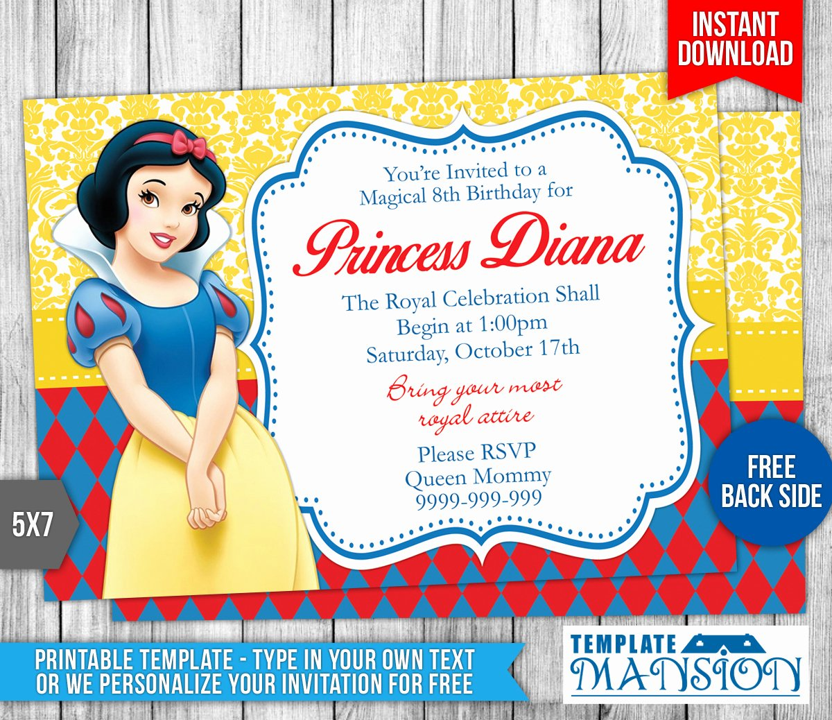 Snow White Invitation Template Awesome Snow White Birthday Invitation Template 3 by